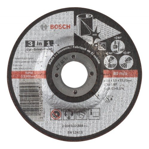 DISCO ABRASIVO BOSCH 3 EM 1 CORTE/DESB/POL BOSCH - 2608602388