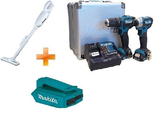 Combo de Parafusadeiras à Bateria 12V + Aspirador + Brinde Adaptador USB Makita