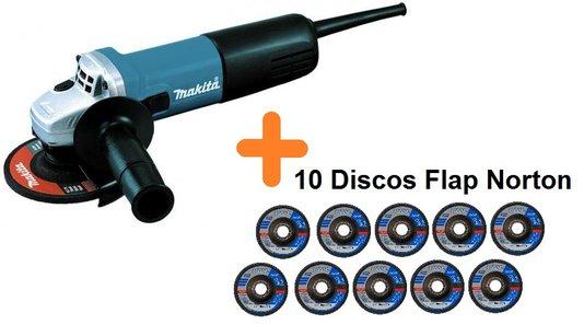 Esmerilhadeira Ang 115MM (4 1/2 POL) - 9557HNG-220V + 10 discos Flap