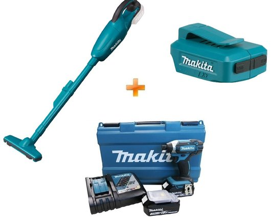 Parafusadeira de Impacto 18V Makita + Aspirador + Brinde Adaptador USB Makita